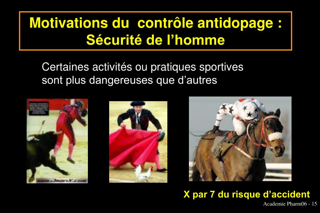 Motivations du  contrôle antidopage :