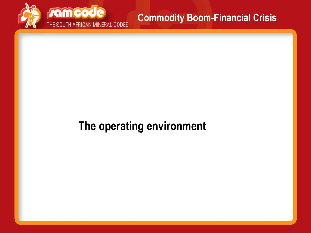 Commodity Boom-Financial Crisis