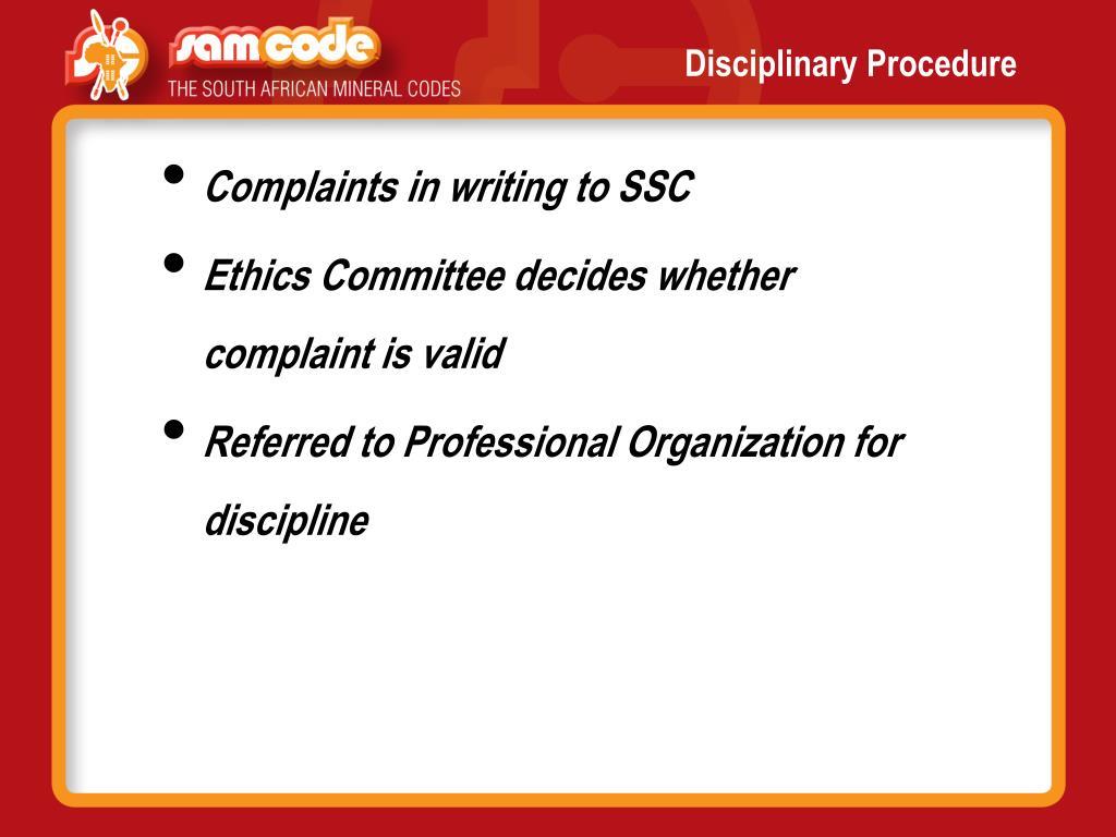 Disciplinary Procedure