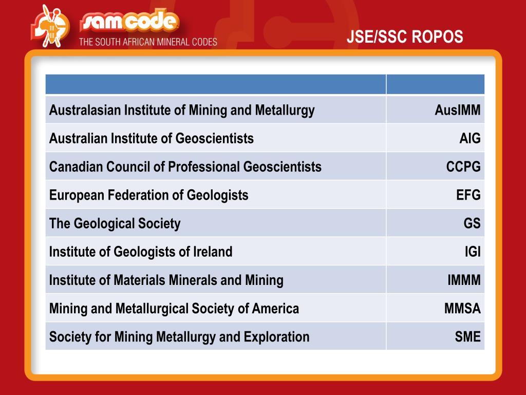JSE/SSC ROPOS