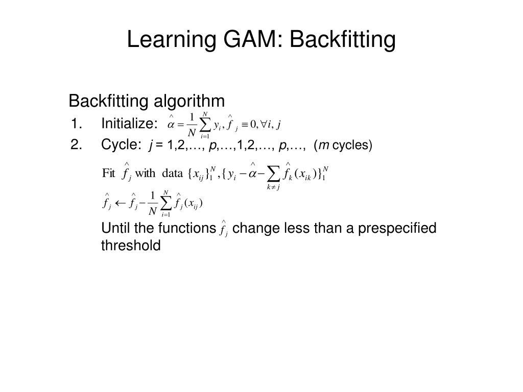 Learning GAM: Backfitting