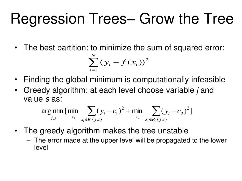 Regression Trees– Grow the Tree