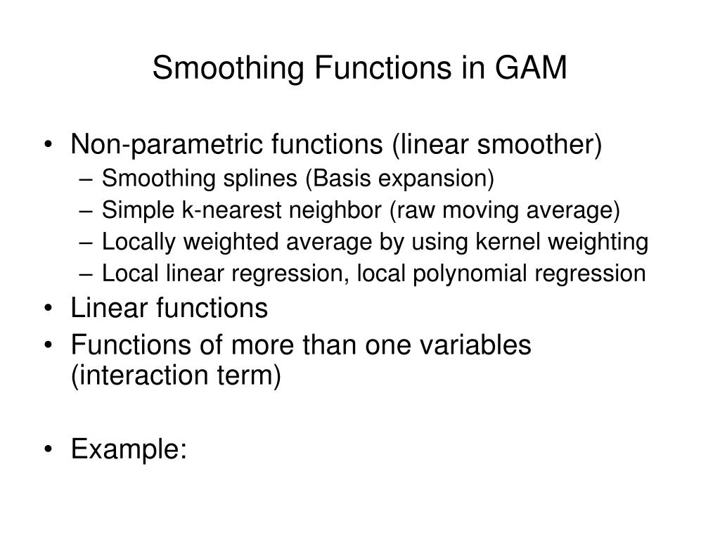 Smoothing Functions in GAM