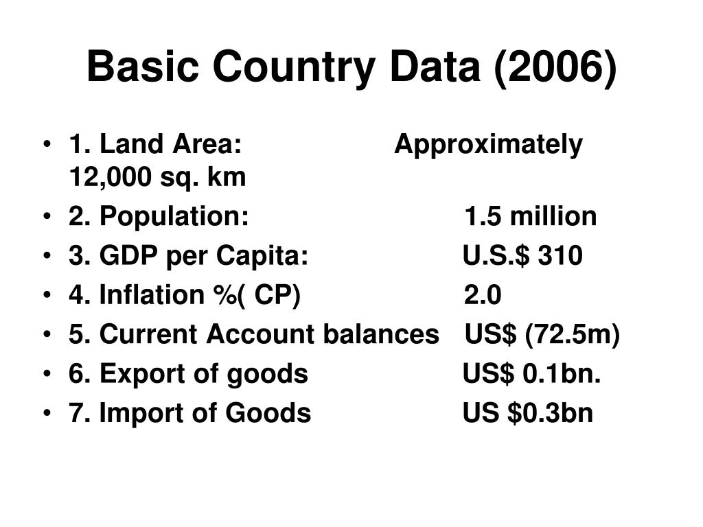 Basic Country Data (2006)