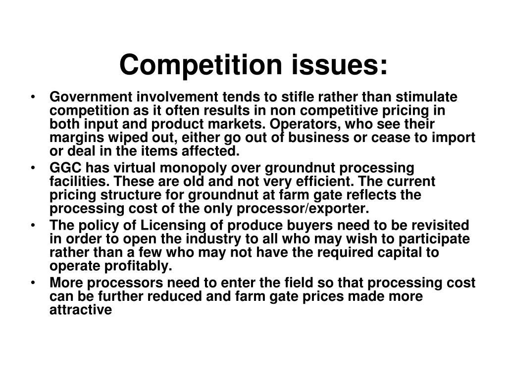 Competition issues:
