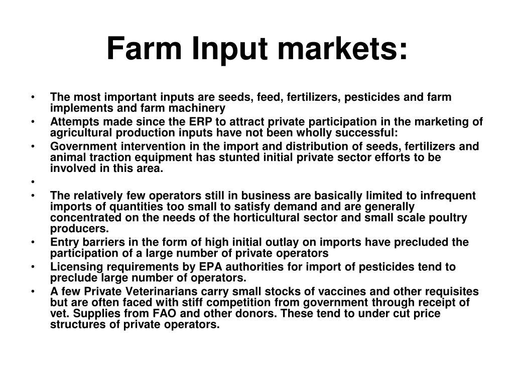 Farm Input markets:
