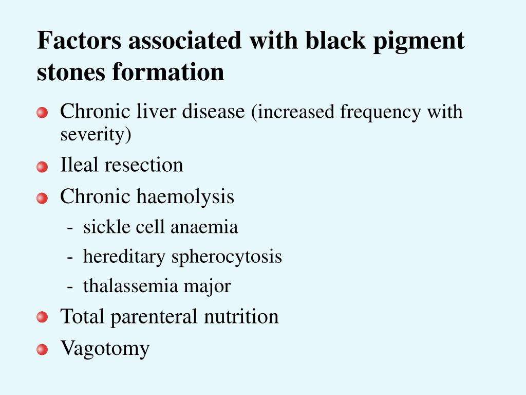 Factors associated with black pigment stones formation