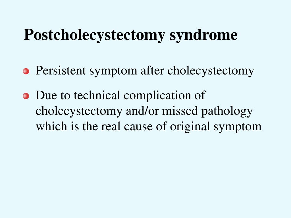 Postcholecystectomy syndrome