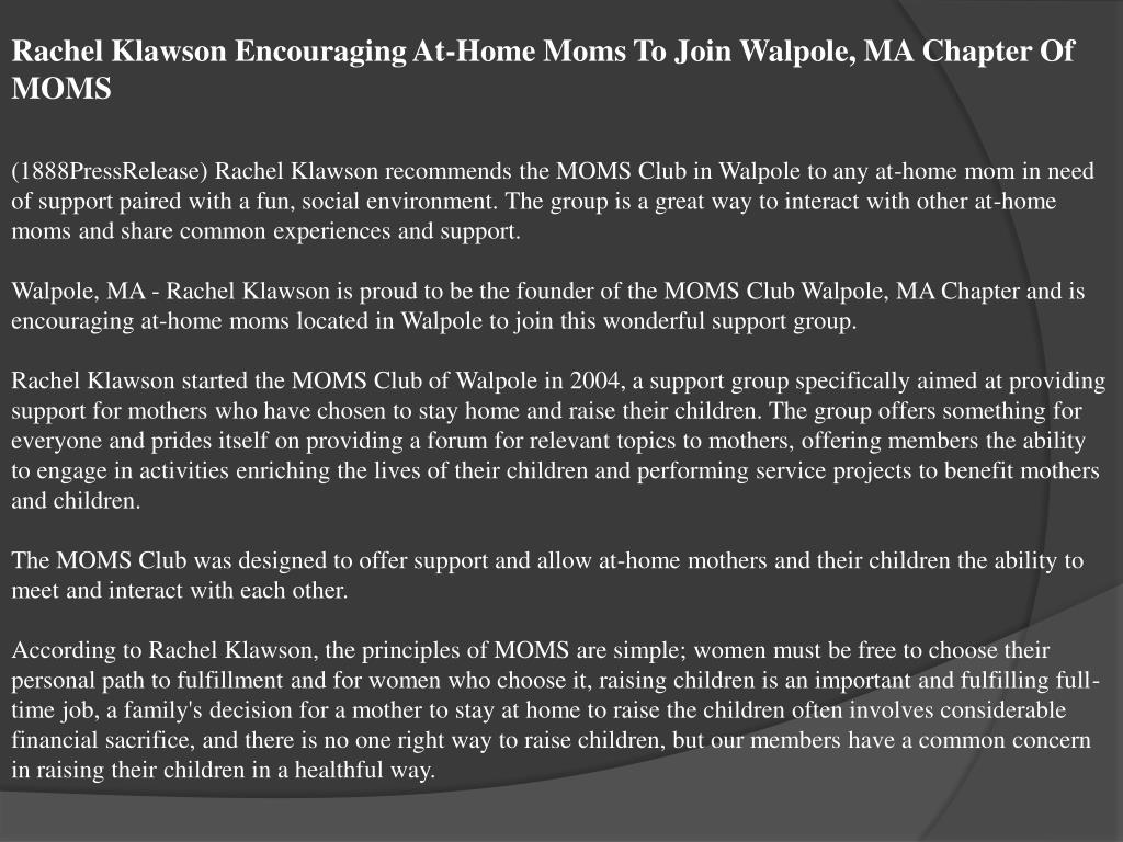 Rachel Klawson Encouraging At-Home Moms To Join Walpole, MA Chapter Of MOMS