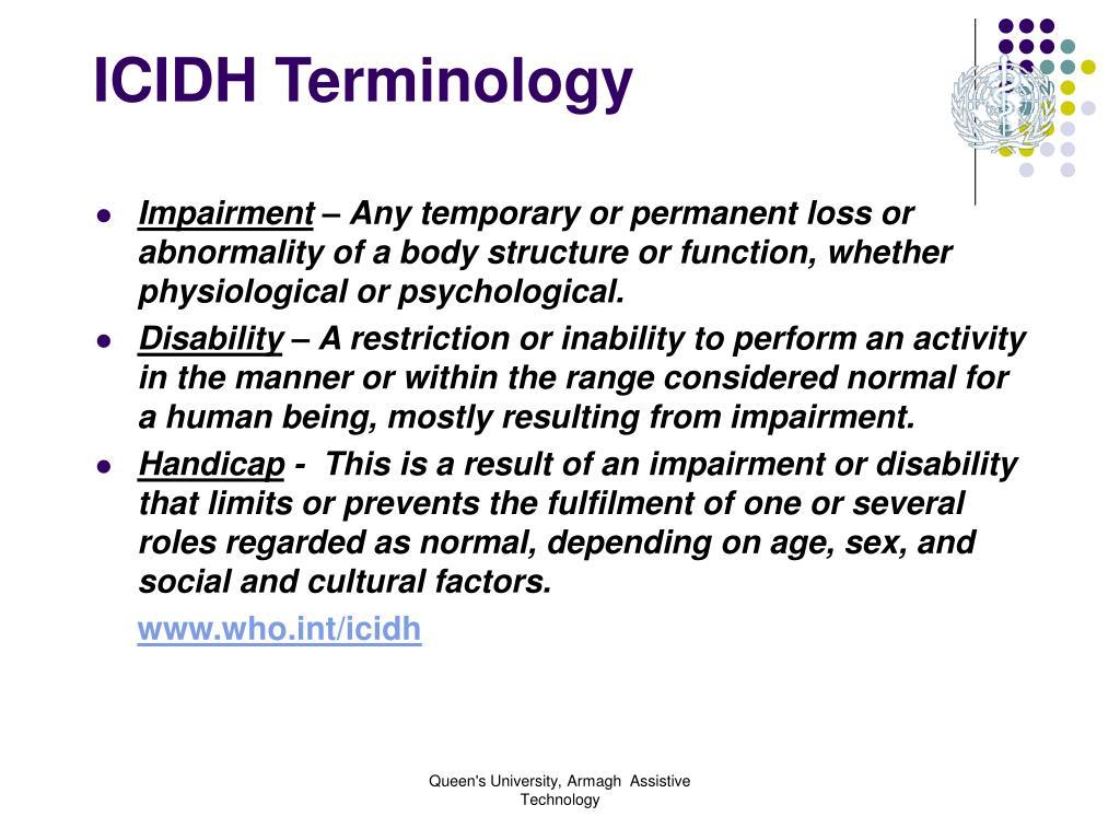 ICIDH Terminology