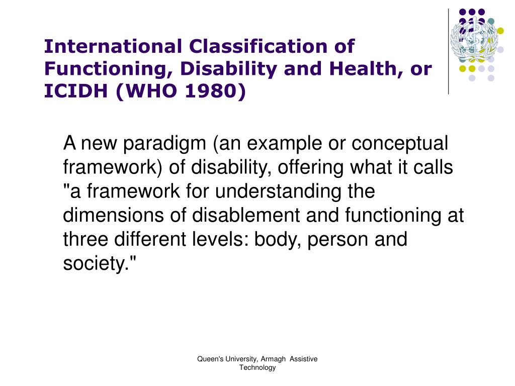 International Classification of Functioning, Disability and Health, or IC