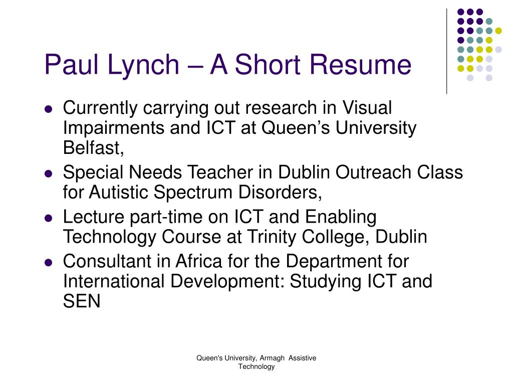 Paul Lynch – A Short Resume