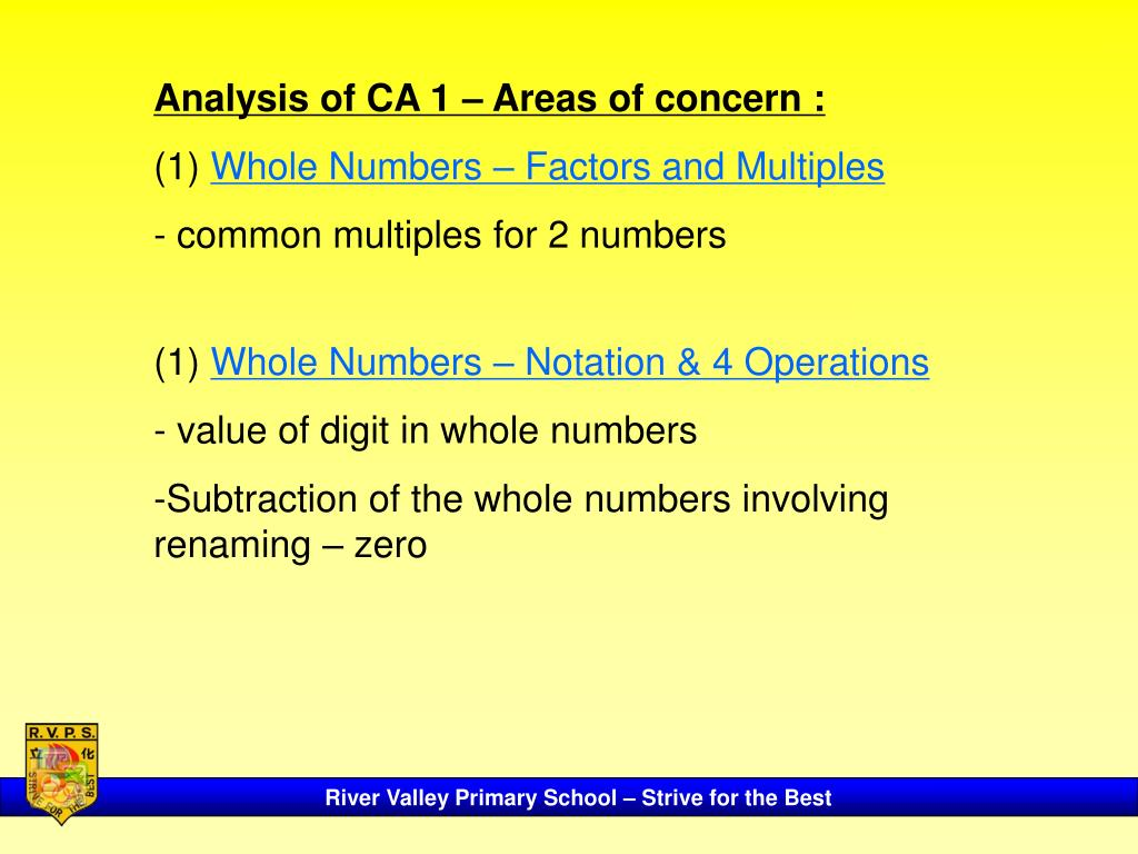 Analysis of CA 1 – Areas of concern :