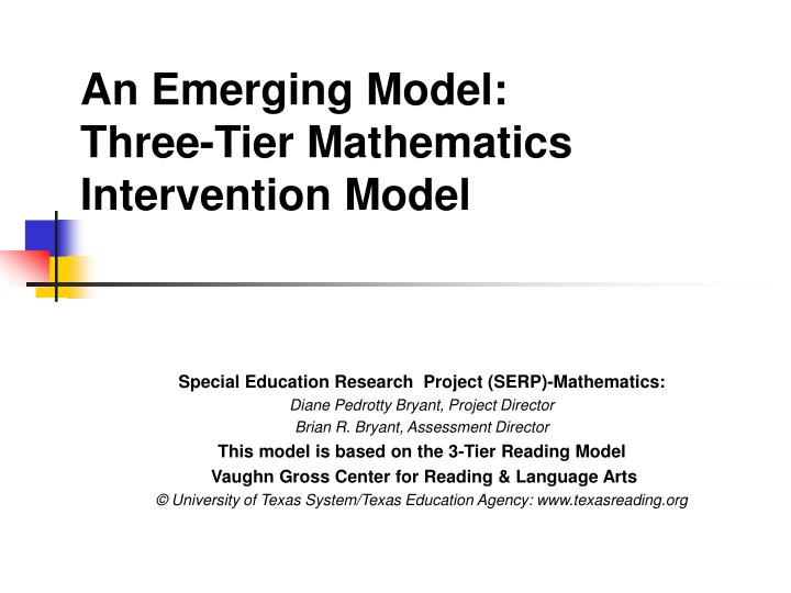 An emerging model three tier mathematics intervention model