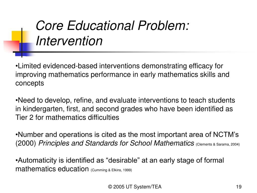 Core Educational Problem: Intervention