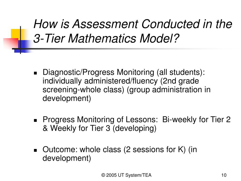 How is Assessment Conducted in the 3-Tier Mathematics Model?