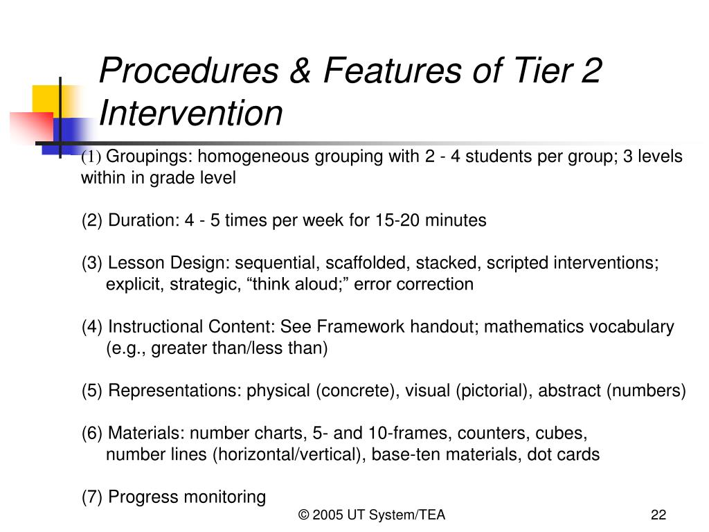 Procedures & Features of Tier 2 Intervention