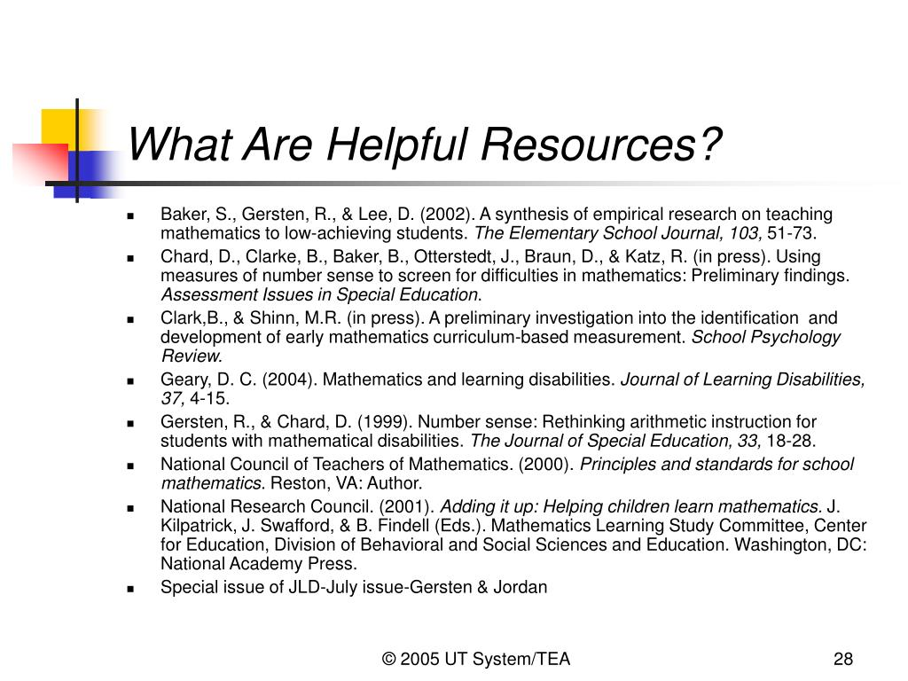 What Are Helpful Resources?
