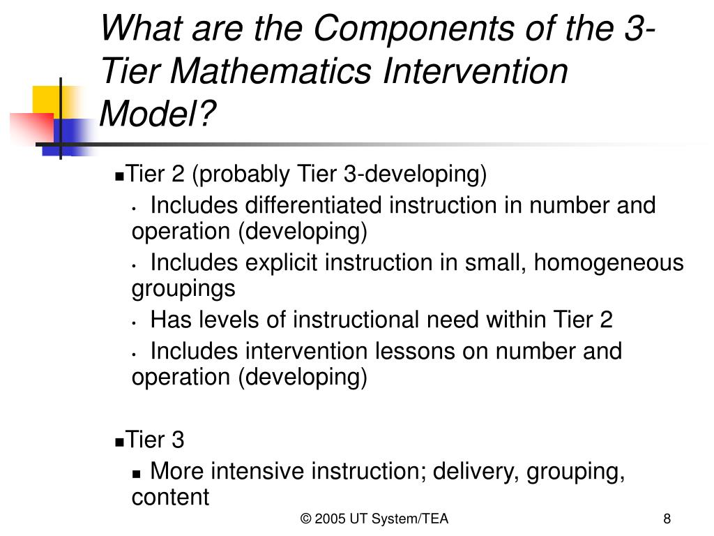 What are the Components of the 3-Tier Mathematics Intervention Model?