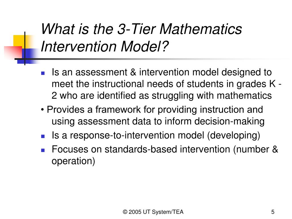 What is the 3-Tier Mathematics Intervention Model?