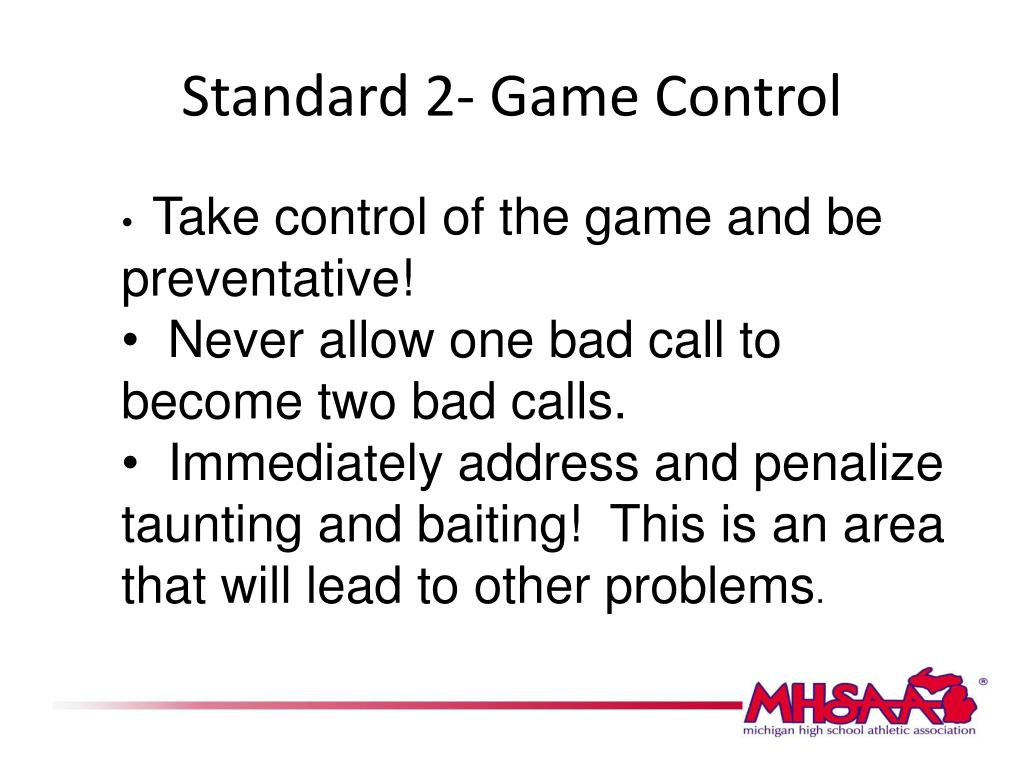 Standard 2- Game Control