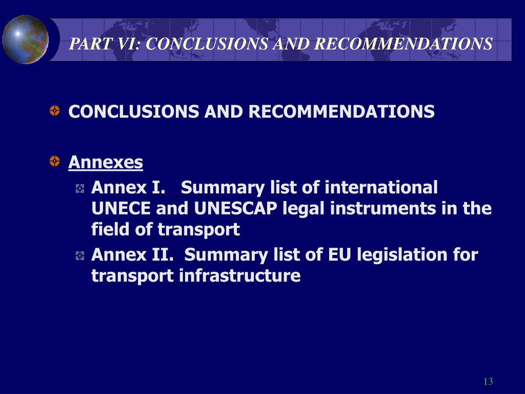 PART VI: CONCLUSIONS AND RECOMMENDATIONS