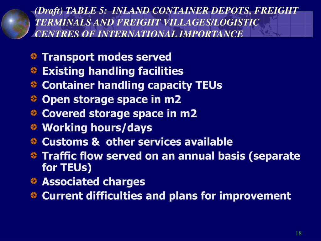 (Draft) TABLE 5:  INLAND CONTAINER DEPOTS, FREIGHT TERMINALS AND FREIGHT VILLAGES/LOGISTIC CENTRES OF INTERNATIONAL IMPORTANCE