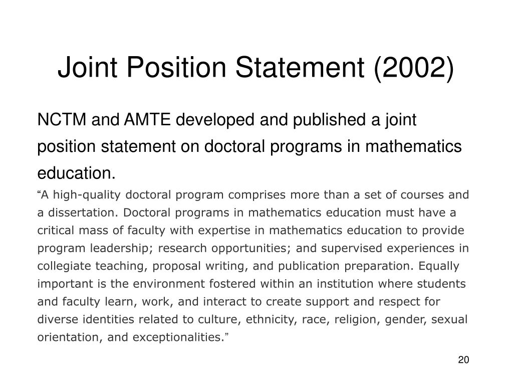 Joint Position Statement (2002)
