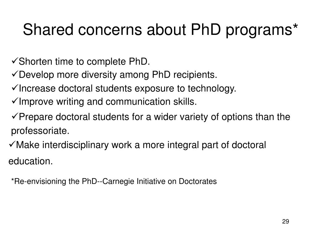 Shared concerns about PhD programs*