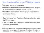 some things learned from survey of 70 doctoral programs38