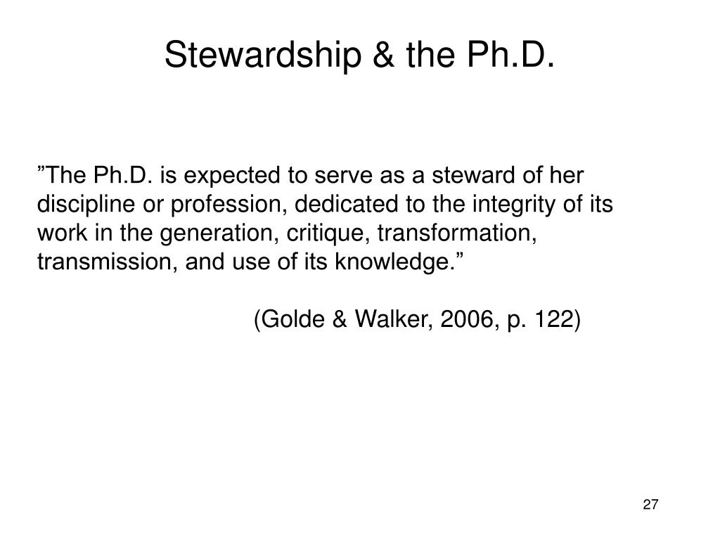 Stewardship & the Ph.D.