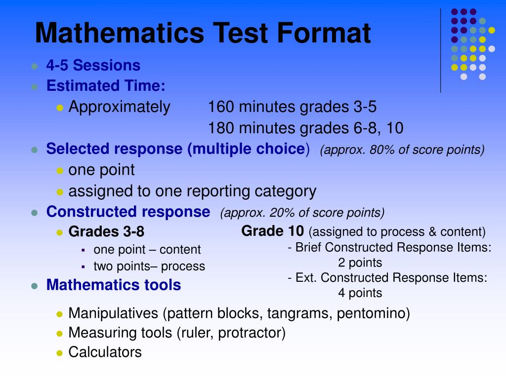 Mathematics Test Format