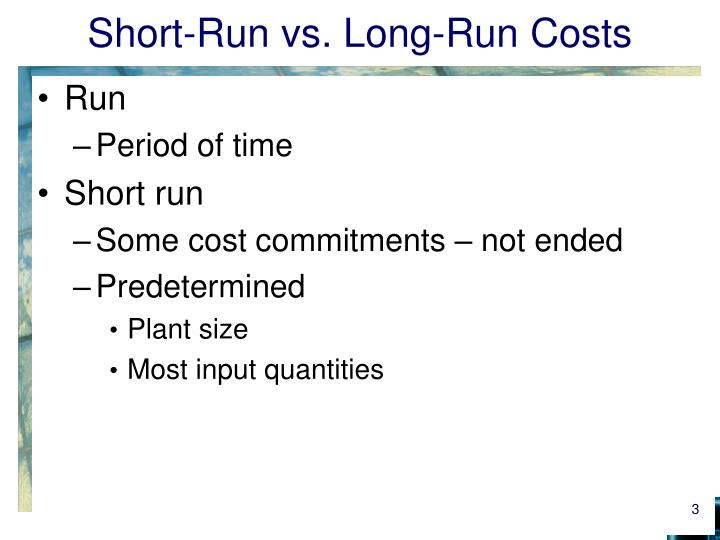 long run vs short run Short run and long run average cost curves: relationship and difference: short run average cost curve: in the short run, the shape of the average total cost curve (atc) is u-shaped the, short run average cost curve falls in the beginning, reaches a minimum.