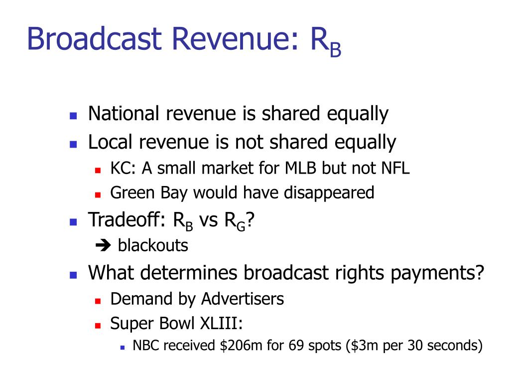 Broadcast Revenue: R