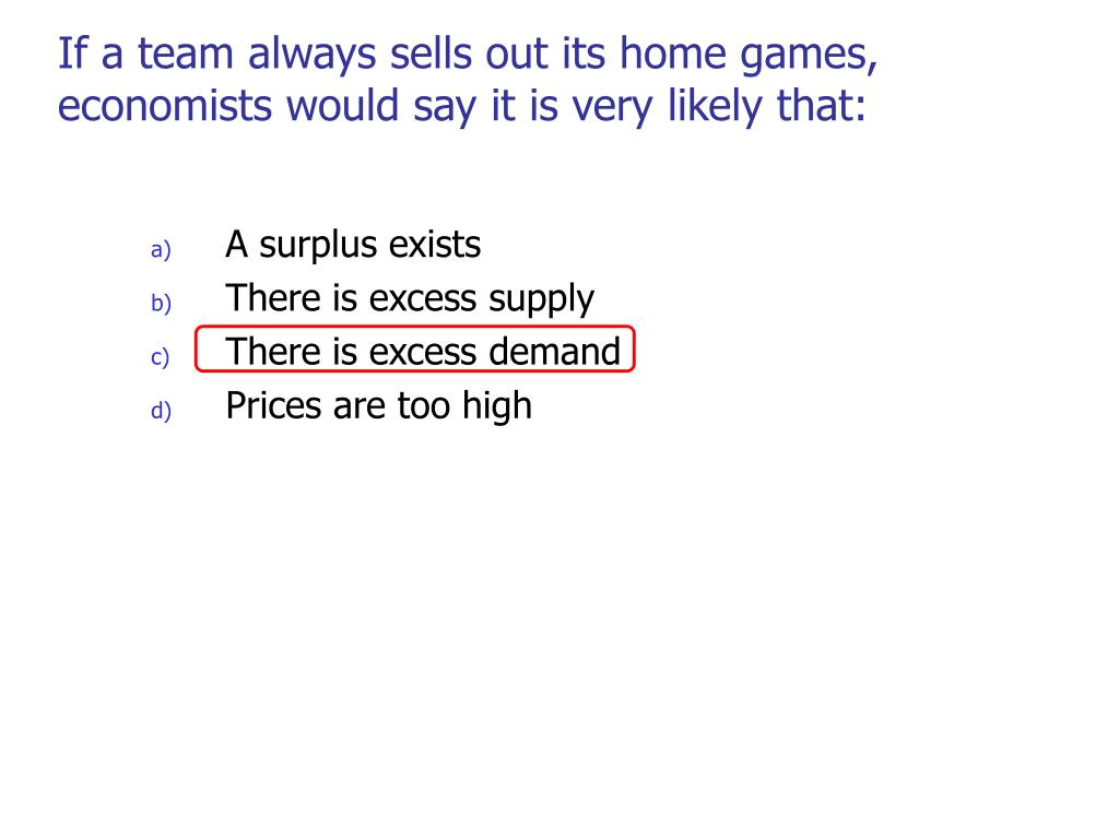 If a team always sells out its home games, economists would say it is very likely that: