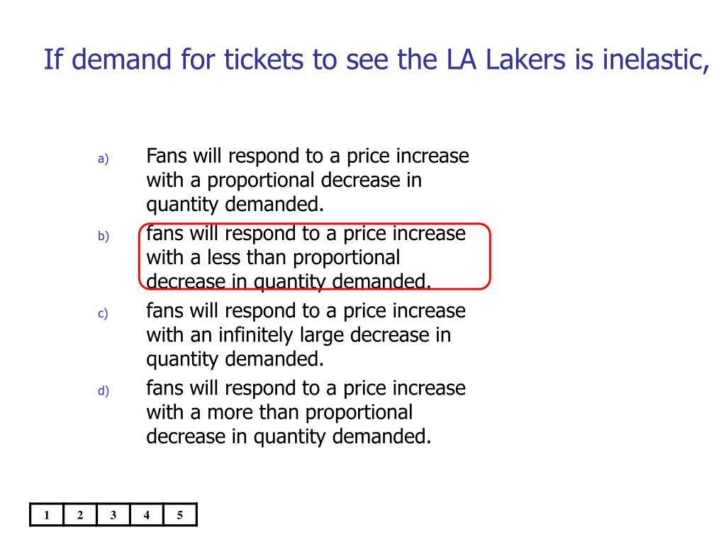 If demand for tickets to see the LA Lakers is inelastic,