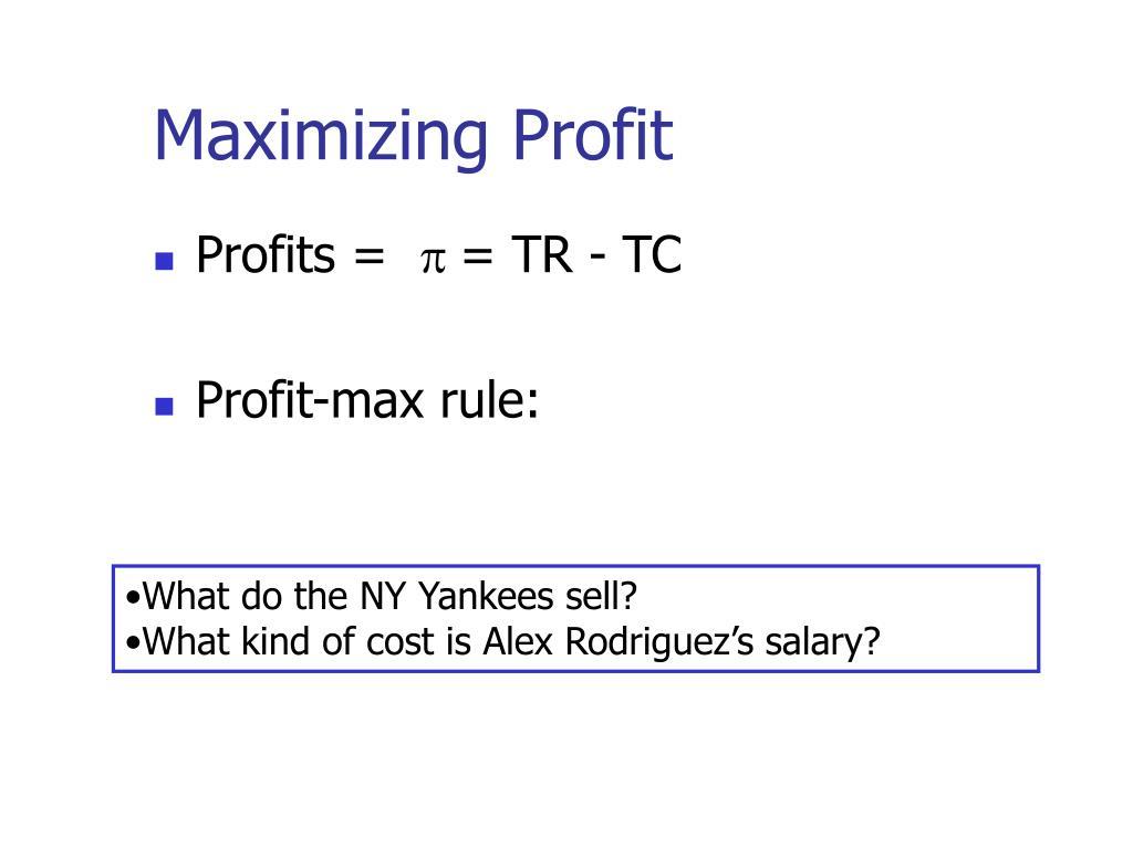 Maximizing Profit