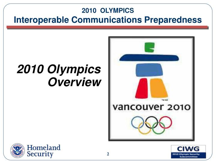 2010 olympics interoperable communications preparedness