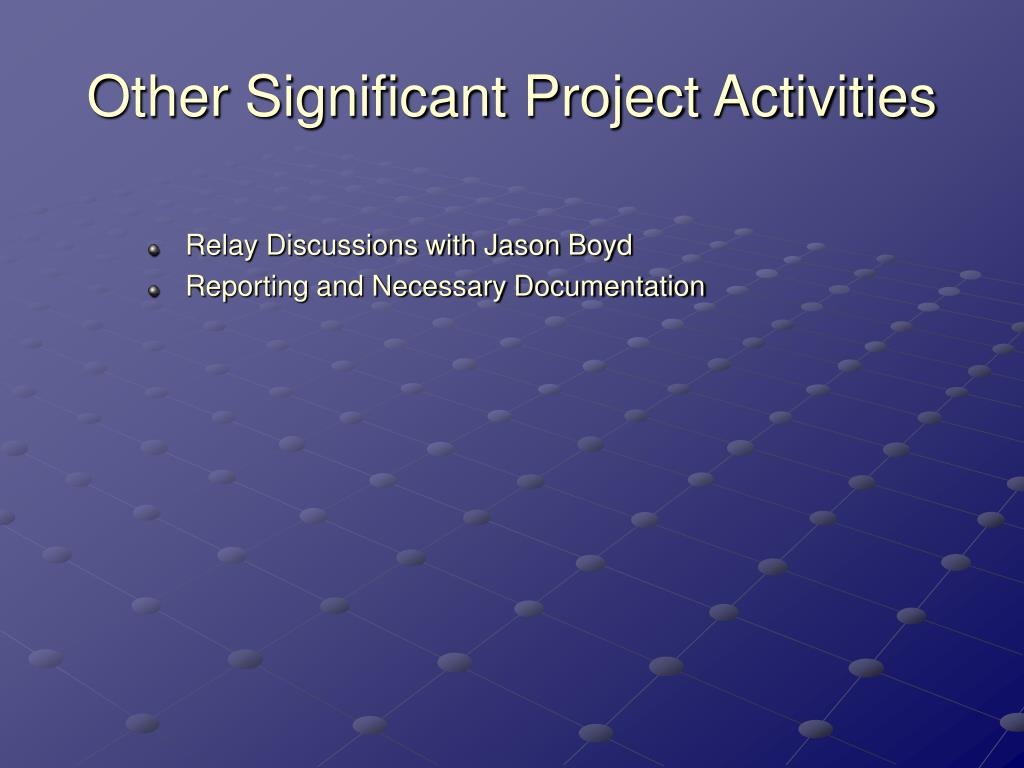 Other Significant Project Activities