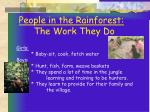 people in the rainforest the work they do