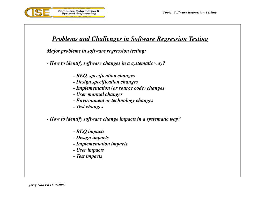 Topic: Software Regression Testing