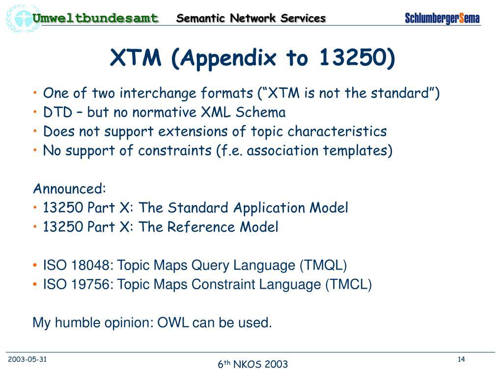 XTM (Appendix to 13250)