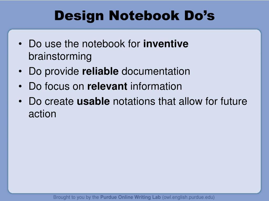 Design Notebook Do's
