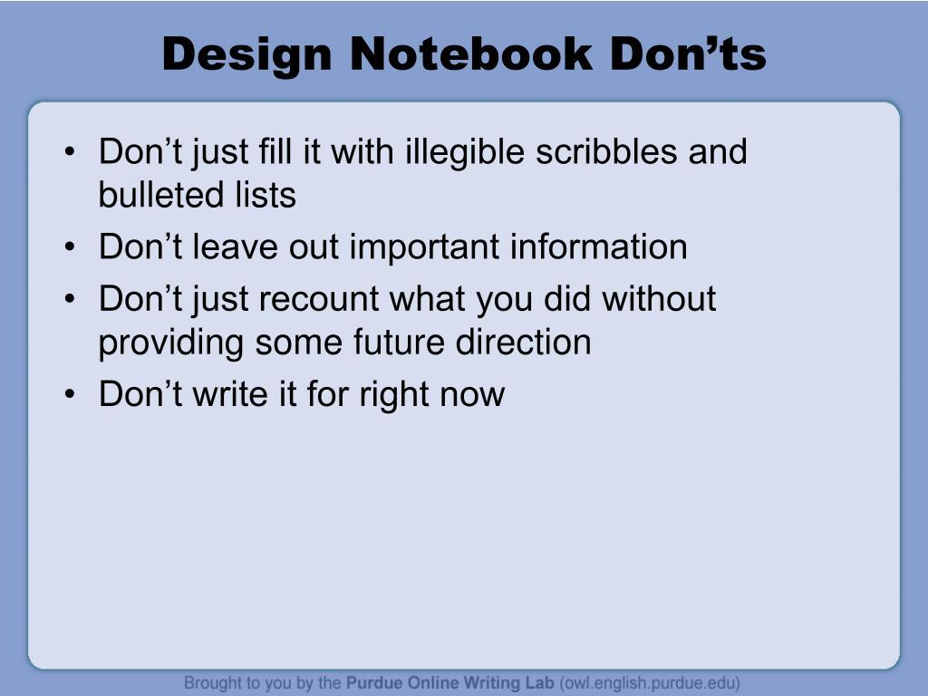 Design Notebook Don'ts