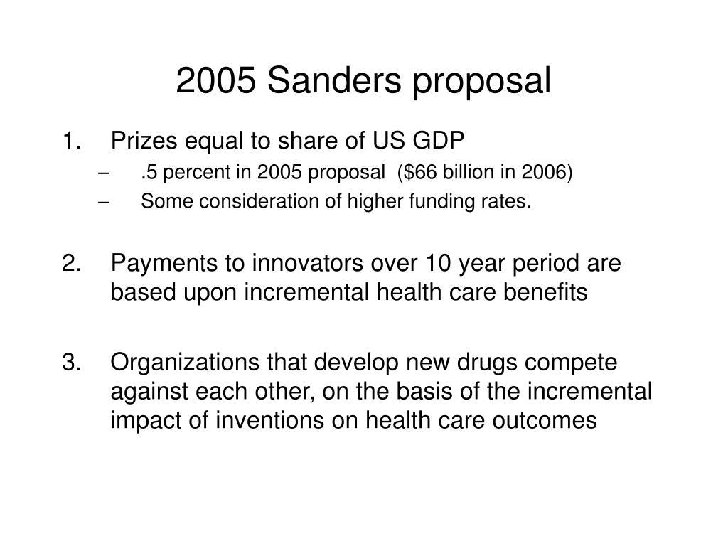 2005 Sanders proposal