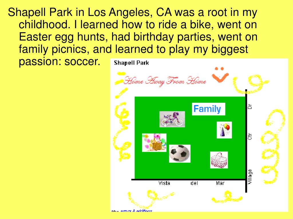 Shapell Park in Los Angeles, CA was a root in my childhood. I learned how to ride a bike, went on Easter egg hunts, had birthday parties, went on family picnics, and learned to play my biggest passion: soccer.