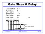gate sizes delay