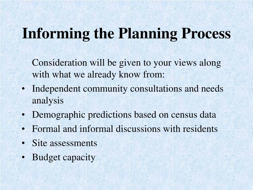 Informing the Planning Process