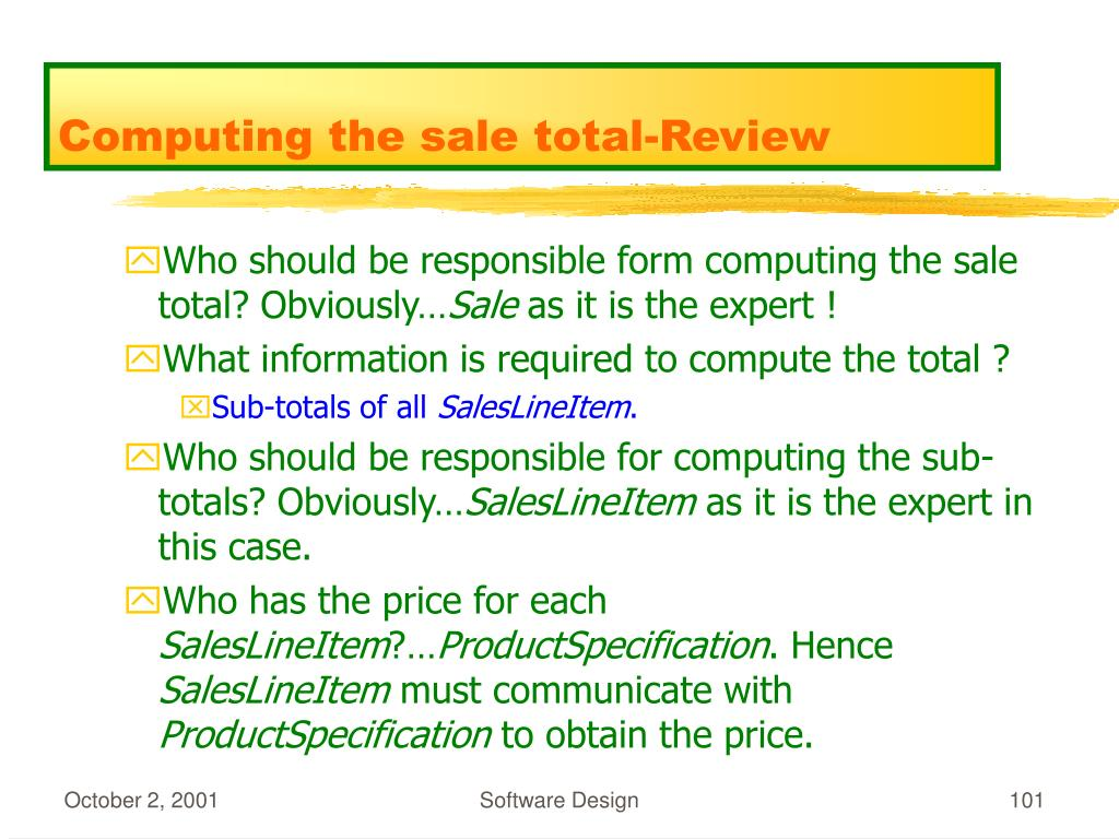 Computing the sale total-Review