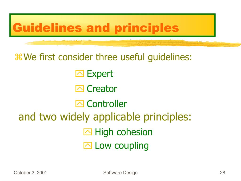 Guidelines and principles